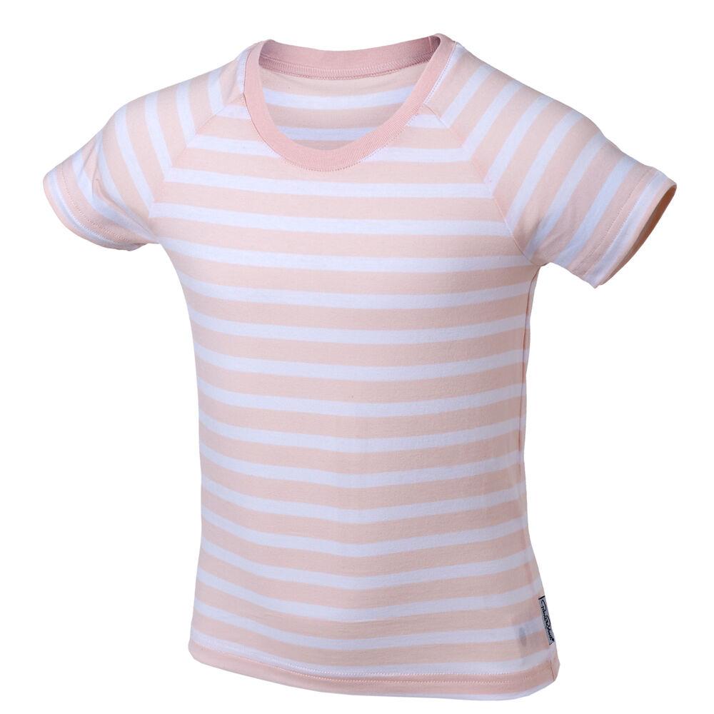 T-Skjorte Økologisk Bomull, pink stripe, hi-res