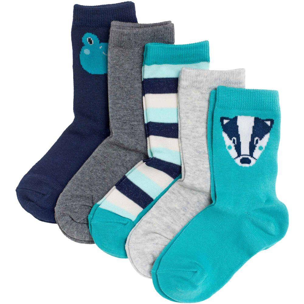 Sokker i økologisk bomull x5, turquoise, hi-res