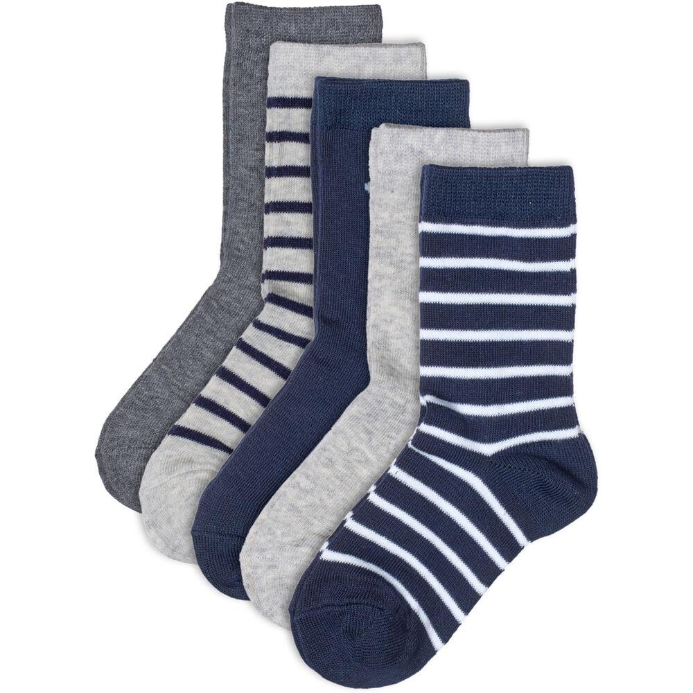 Basic luomupuuvillaiset sukat 5-pack, blue mix, hi-res