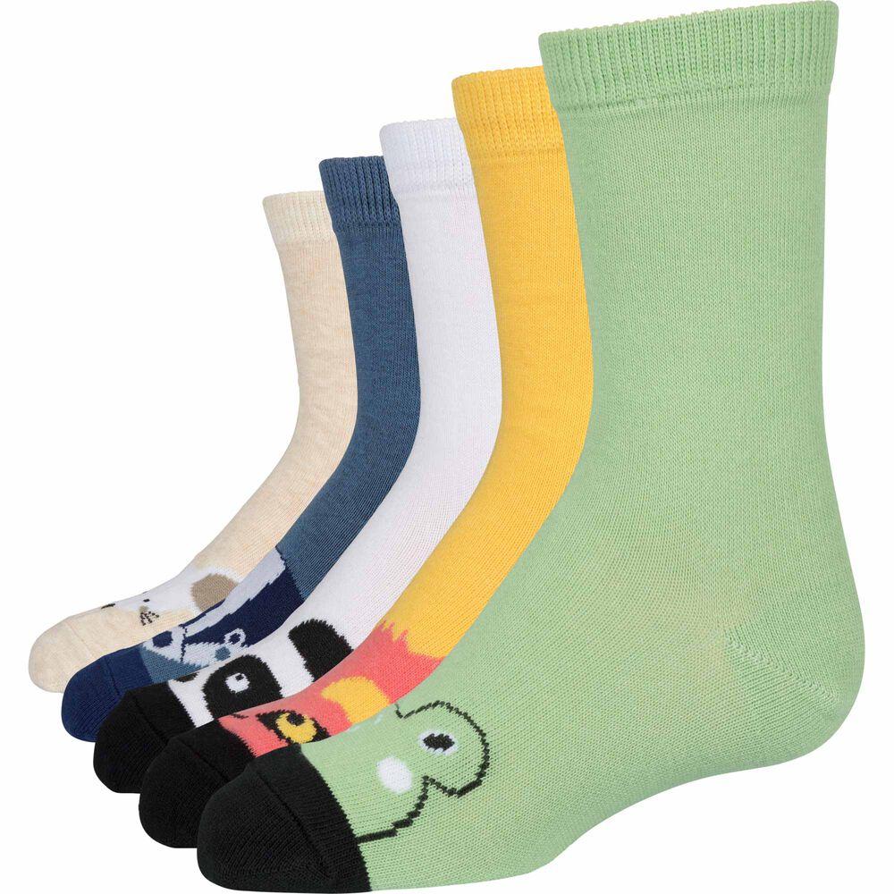 Sokker i økologisk bomull x5, animal mix, hi-res