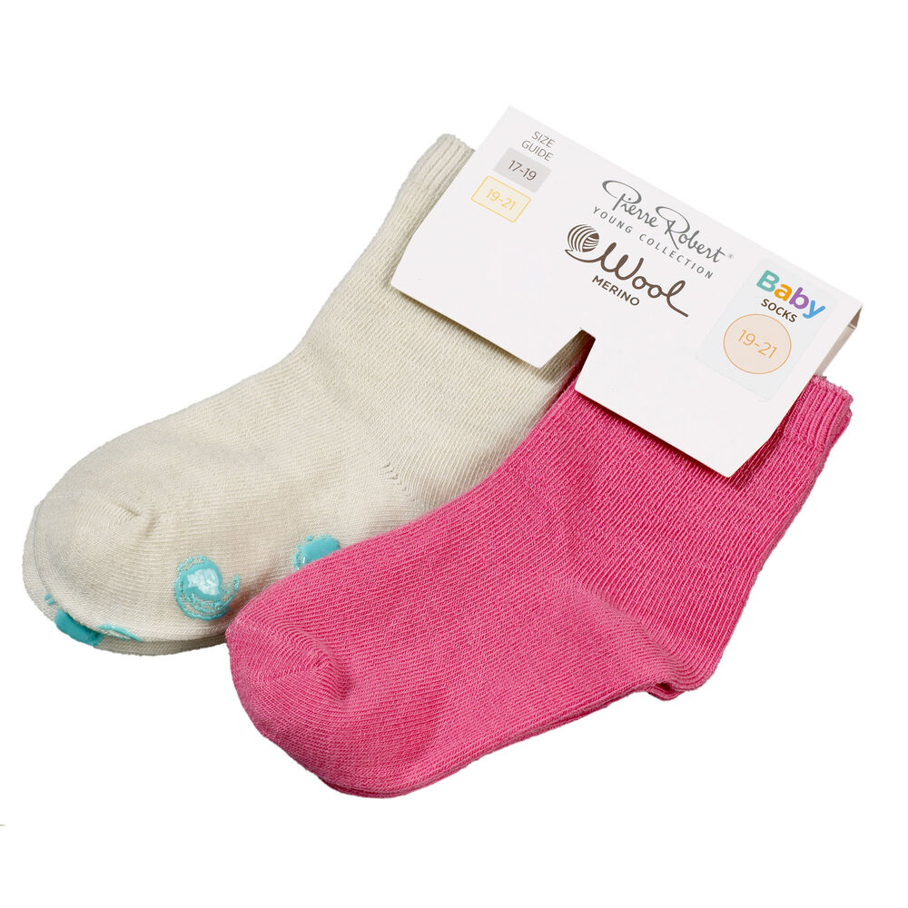 Baby villasukat 2-pack, off white pink, hi-res