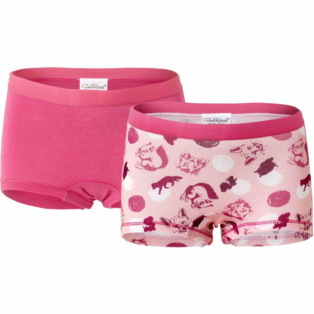 Tyttöjen luomupuuvillaiset bokserit, lightpink/pink, hi-res