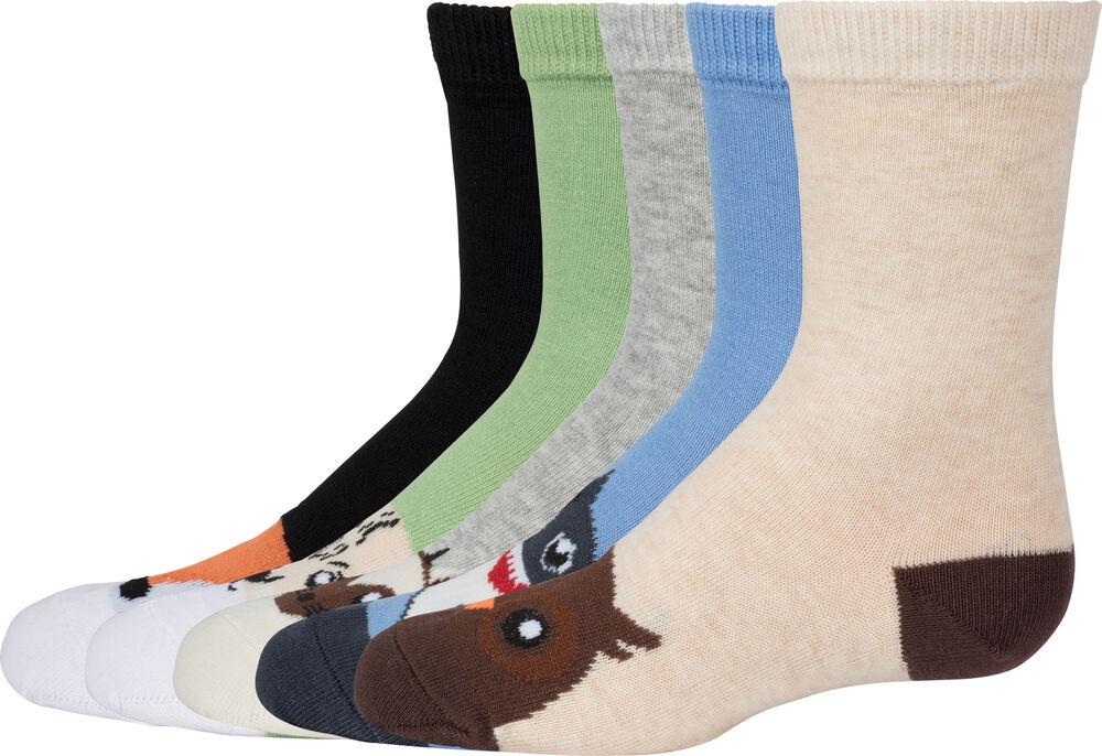 Basic luomupuuvillaiset sukat 5-pack, nordic animal, hi-res