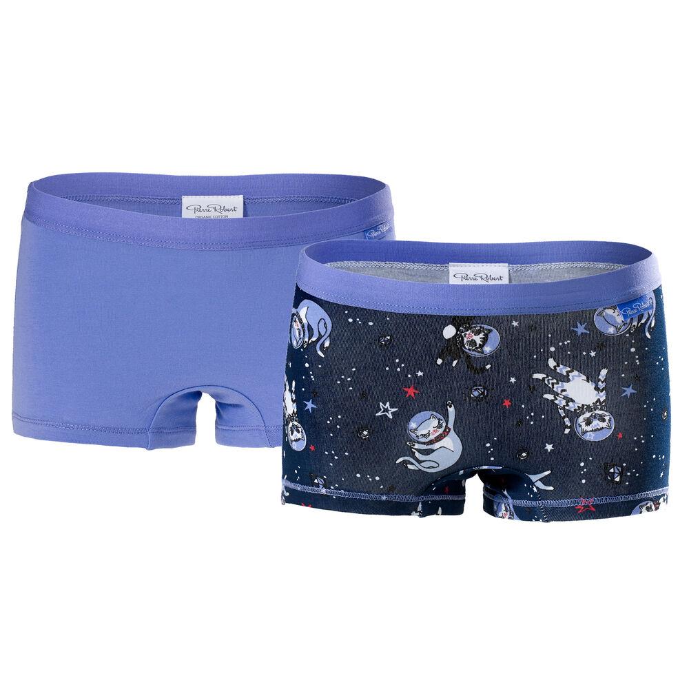 Trosor ekologisk bomull 2-pack flickor 3-8 år, navy pattern & lilac 2-17, hi-res