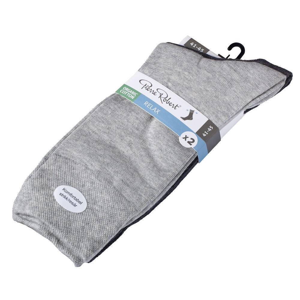 Sokker Økologisk Bomull x 2 Grå/Lysegrå, grey/lt.grey, hi-res