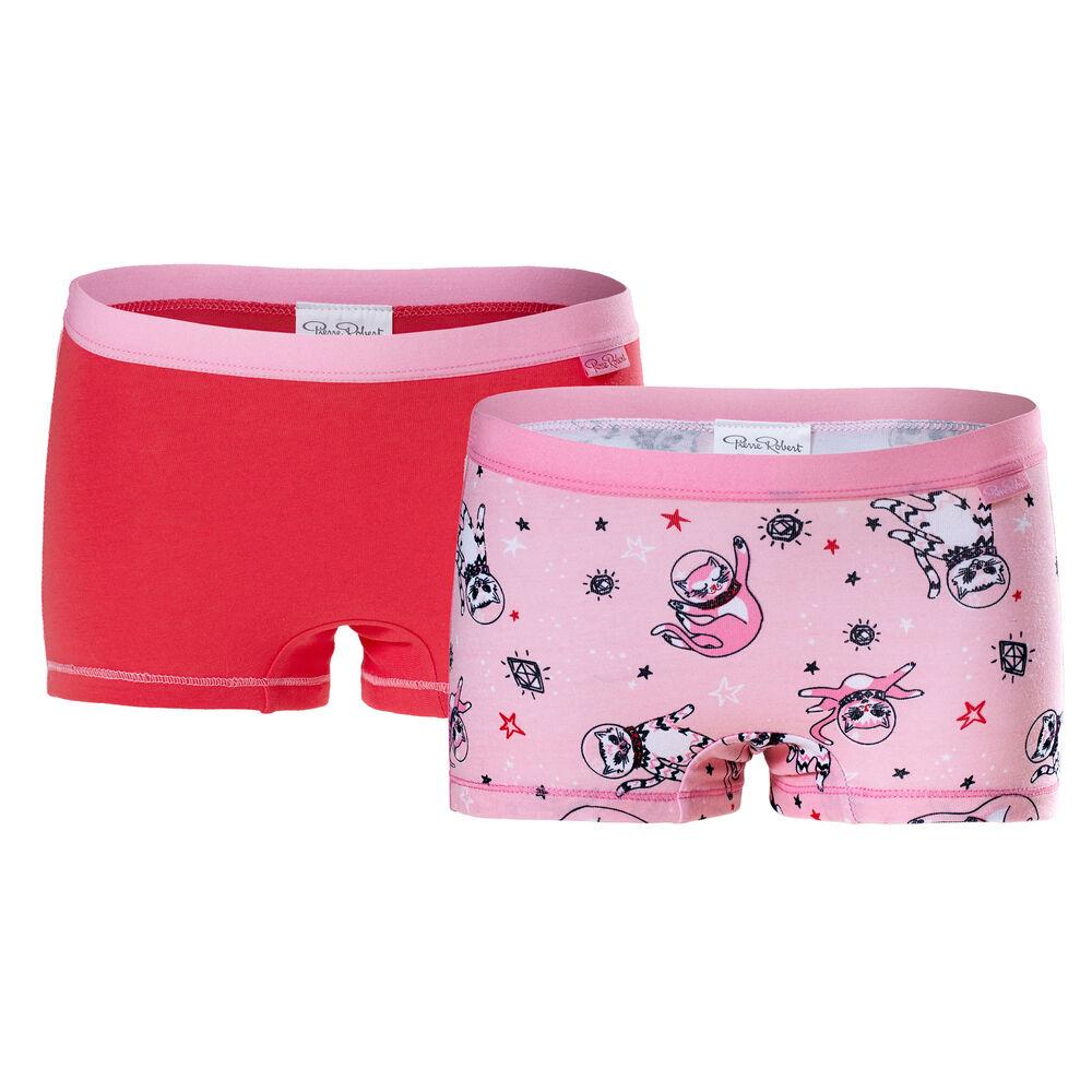 Trosor ekologisk bomull 2-pack flickor 3-8 år, pink pattern & red 2-17, hi-res