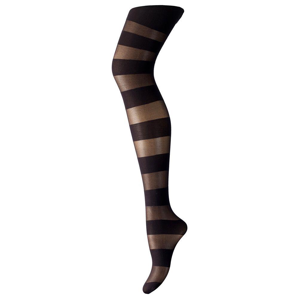 Strømpebukse 50 Den Svart Horisontale Striper, black horizontal stripe, hi-res