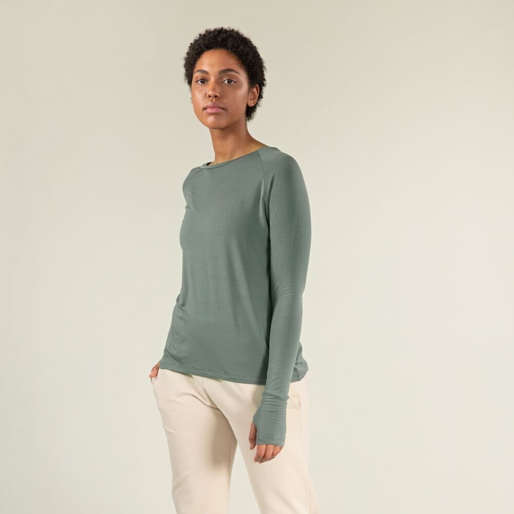 Pitkähihainen paita, grey-green, hi-res