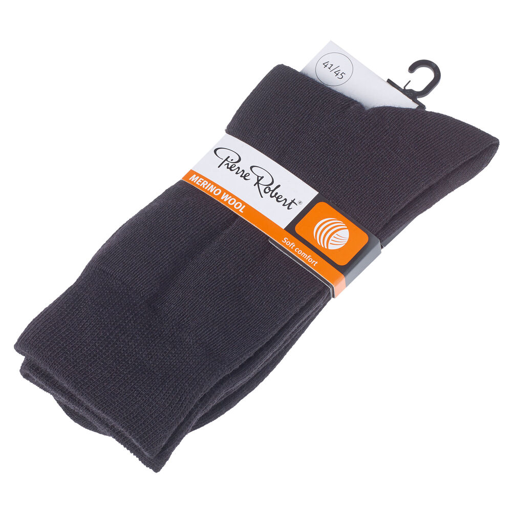 WOOL SOCKS BLACK, black, hi-res