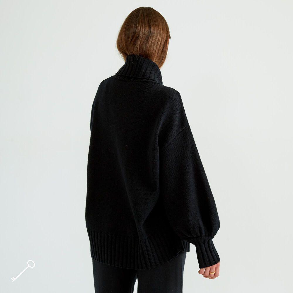 Merinovillainen neulepaita, black, hi-res