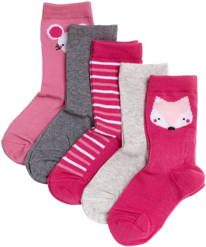 Basic luomupuuvillaiset sukat 5-pack, pink, hi-res
